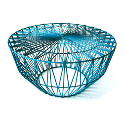 Bend Seating - Drum Table/Ottoman, Peacock - This piece is the have your cake and eat it too. The embodiment of versatility. Use it as an ottoman for your Lucy. Add a cushion to make it a sitting stool when uninvited company comes to the door during Thanksgiving dinner and you require emergency seating. Add a lamp and a copy of Horse and Hound and you've got yourself a side table. Hot dipped galvanized iron to prevent rust. Slight assembly required.