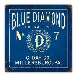Past Time Signs - Blue Diamond Vintage Metal Sign - This vintage metal sign is hand made with pride in the USA using heavy gauge American steel. The high-resolution graphics are sublimated and powdercoated for a long-lasting durable finish. Then, it's worked over by hand to give it that vintage look and feel. It's perfect for your %customfield:genre% Man Cave, Game Room, Office, or anywhere you want to show love for your favorite things.