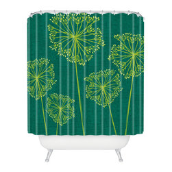 Water Hemlock Shower Curtain - Embrace the delicate, devious beauty of the water hemlock with this richly toned, woven poly shower curtain. A bold green pattern of hemlock's lacy blooms makes this easy-care curtain a daring choice for cheeky modern decorators.