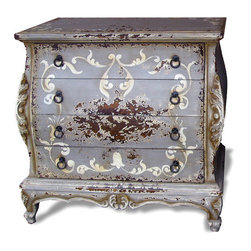 Koenig Collection - Old World Tuscan Nightstand Wally, Celeste Distressed - Wally Nightstand, Celeste Distressed, Espresso, and Bone with Scrolls