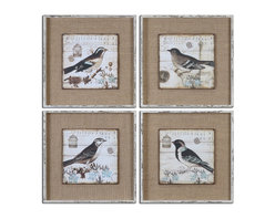 Uttermost - Black and White Birds Art Set of 4 - Images are printed on boards then mounted on medium sand colored linen fabric. Frames are heavily distressed in white with medium brown undertones and a gray wash.