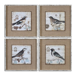 Uttermost - Black and White Birds Art S/4 - Images Are Printed On Boards Then Mounted On Medium Sand Colored Linen Fabric. Frames Are Heavily Distressed In White With Medium Brown Undertones And A Gray Wash.
