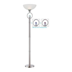 Lite Source - Lite Source LS-82137 Tazia 1 Light Torchiere Lamp with LED Accent Light - Features: