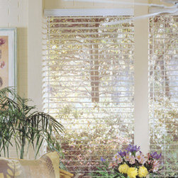 Comfortex - Comfortex Woodwinds 2 1/2-inch Beveled Slat Faux Wood Blinds - The large slat features an angled profile which provides unique aestetic appeal as light reflects off the hexagonal Wood Alloy surface.