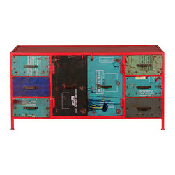 Sierra Living Concepts - Factory Industrial Iron Sideboard Multi Color Storage Buffet Cabinet - When it comes to interior design you should be able to write your own rules. Our Factory Industrial Iron Sideboard Multi Color Storage Buffet Cabinet adds dynamic colors and distressed elements while offering optimal form and function. The all iron cabinet stands off the floor on very narrow legs.
