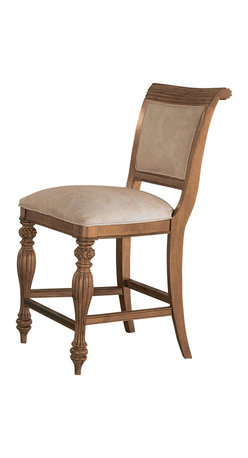 American Drew - American Drew Grand Isle Counter Height Barstool in Amber, Set of 2 - Counter Height Barstool in Amber belongs to Grand Isle Collection by American Drew The Grand Isle Collection is a lifestyle bedroom and dining room group that offers high end, yet casual up to date tropical style with multiple options for any room of the home; creating a collection that is perfect for many homes, vacation homes or even smaller size vacation condos. The amber finish has a warm overtone with subtle dark burnished accents that make the natural soft distressing show through. Design elements used in Grand Isle include carved and shaped pilasters, woven drawer fronts and a louver motif; all adding a higher end look to the collection. This collection is sure to add a relaxed, yet sophisticated style to most homes and offers plenty of options to help with storage and organization. Counter Height Barstool (2)