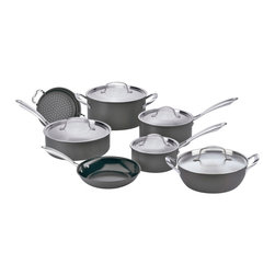 Cuisinart - Cuisinart Green Gourmet Non-Stick Hard Anodized 12-Piece Cookware Set - Exclusive Cuisinart Ceramica PTFE/PFOA-free non-stick interior helps to reduce oil consumption