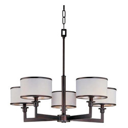 Maxim Lighting International - Nexus Oil Rubbed Bronze Five-Light Chandelier - The Nexus Collection is the true standard for contemporary lighting. The flat rectangular tube arm forms to a perfect angle and comes finished in choice of Satin Nickel or Oil Rubbed bronze. The White fabric drum shade is trimmed with metal rings in matching finish for a clean, tailored look. Maxim Lighting International - 12055WTOI