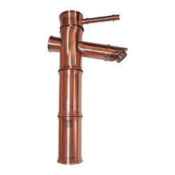 Renovators Supply - Antique Copper Bamboo Faucet - Bamboo Single Hole Faucets: Our single lever faucet is constructed of solid brass, antique copper finish, and has a top rated 500,000 cycle cartridge. This single lever faucet has a straight spout and round body. Faucet comes with supply lines and mounting hardware. Measures 11 in. high and 7 3/8 in. from spout to counter.