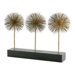 Kathy Kuo Home - Atlantis Gold Iron Puff Sculpture Trio on Stand - Create a strong, sculptural statement with this prickly trio of gold verdi metal puffs.  Reminiscent of great mid century sculptures and water fountains, this contemporary decorative sculpture would be perfect in an artful, contemporary environment.