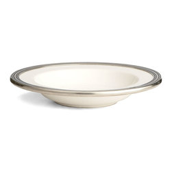 Tuscan Pasta/Soup Bowl - A course of etched lines with subtle antiqued shadows run through the pewter rim of the Tuscan Pasta and Soup Bowl.  This shallow vessel is handmade from white ceramic and shaped perfectly for serving hearty Mediterranean favorites.  Made in Italy, it offers a sophisticated, worldly palette whose simplicity makes it easy to coordinate with other dishware.