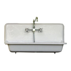 "Consigned 36"" Wide High Back Cast Iron Farmhouse Sink Professionally Refinished - Amazing 36"" High Back Cast Iron Farmhouse Sink Professionally Refinished in Bright White, Roll Rim Apron,  with New Faucet, Drain and Strainer!"