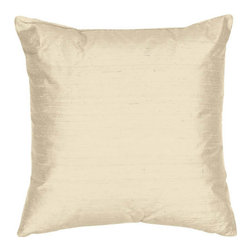 The Silk Group - Cream 22x22-Inch Square Silk Dupioni Luxury Decorative Pillow Cover Only - - Handcrafted in the USA these decorative pillows are ideal for adding that special finishing touch to any space. Available in over 100 colors several of them can be combined for a grouping of complementary colors or contrasting shades. They feature 100% Grade A Silk Dupioni the finest highest quality most exquisite silk fabric on the market. A high quality knit backing is permanently bonded to the back of the fabrics used in our pillows. The knit backing adds body increased stability and longevity to the pillow. An invisible color-coordinated zipper is discretely placed on the bottom edge of the pillow so both faces of the pillow are able to be displayed. The fabric face has been treated with the most durable and permanent eco-friendly stain moisture and UV repellents available. Using nanotechnology the repellents penetrate deeply into the fibres of the fabric through a gentle heat curing process. This provides long lasting protection from water alcohol and oil-based stains as well as resistance from fading and discoloring over time  - Pillow cover only  - Laundering Information: Dry clean only  - Made in USA The Silk Group - SQ_Dup_Sol_Cream_22x22_CO