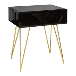 Worlds Away - Debra One Drawer Side Table - Black Glass One Drawer Side Table With Gold Leafed Hairpin Legs