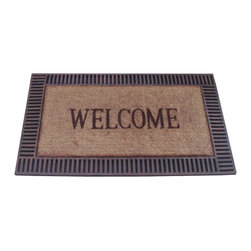 None - Wood Frame Coir and Recycled Rubber Doormat - Welcome all your guests with this handsome and sturdy coconut-fiber and rubber doormat that resists both mildew and fading. The mats coir surface removes dirt, moisture, and even mud, so everyone coming into your home can have clean feet.