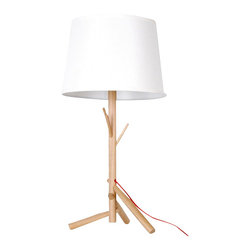 ParrotUncle - Modern Table Lamps with White Shade and Wooden Stand - Bring a bit of nature indoors and light up your room with a modern twist. The tree form mounted to a sturdy wooden base. A monochromatic white shade completes the look elegantly. It's ready for your bedside table or Living Room.