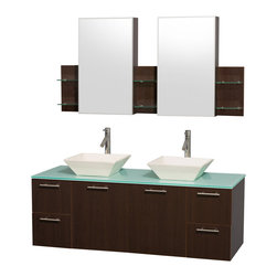 Wyndham Collection - Bathroom Vanity Set with Porcelain Sinks and Medicine Cabinet - Includes mirror, sinks, drain assemblies and P-traps for easy assembly. Faucets not included. Two functional doors. Four functional drawers. Plenty of storage space. Metal exterior hardware with brushed chrome finish. Single-hole faucet mount. Eight stage preparation, veneering and finishing process. Highly water-resistant low V.O.C. sealed finish. Unique and striking contemporary design. Modern wall-mount design. Deep doweled drawers. Fully extending soft-close drawer slides. Engineered for durability and to prevent warping and last a lifetime. Made from veneers and highest quality grade E1 MDF. Espresso finish. Mirror: 59.25 in. W x 30 in. H. Vanity: 60 in. L x 22.25 in. W x 21.25 in. H. Care Instructions. Assembly Instructions - Vanity. Assembly Instructions - Medicine CabinetsModern clean lines and a truly elegant design aesthetic meet affordability in the Wyndham Collection. The attention to detail on this elegant contemporary vanity is unrivalled.