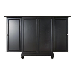 Crosley Furniture - Crosley Furniture Cambridge Expandable Bar Cabinet in Black Finish - Crosley Furniture - Home Bars - KF40001DBK - Constructed of solid hardwood and wood veneers this Expandable Bar Cabinet is designed for longevity. The beautiful raised panel doors provide the ultimate in style to dress up your home. The doors open and top folds out to double the size of your entertaining / serving area. Inside the doors you will find plentiful storage space for spirits glassware and a host of other bar items. The center cabinet features 16 bottle wine storage utility drawer hanging stemware storage and extra space for a variety of other barware.