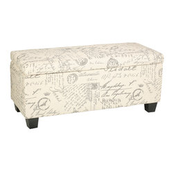 """Cortesi Home - Fitzgerald Script Storage Ottoman Bench - The Fitzgerald Script storage bench is upholstered in a soft beige fabric and features a popular script pattern. It also features a safety hinge top and a deep storage area measuring 10"""" x 14"""" x 36.5"""". With its charming fabric pattern and functional storage space this is the standout piece in any home decor."""