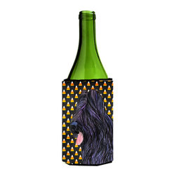 Caroline's Treasures - Briard Candy Corn Halloween Portrait Wine Bottle Koozie Hugger - Briard Candy Corn Halloween Portrait Wine Bottle Koozie Hugger Fits 750 ml. wine or other beverage bottles. Fits 24 oz. cans or pint bottles. Great collapsible koozie for large cans of beer, Energy Drinks or large Iced Tea beverages. Great to keep track of your beverage and add a bit of flair to a gathering. Wash the hugger in your washing machine. Design will not come off.