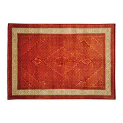 1800GetARug.com - Tabriz Mahi Wool and Silk Orange Tone on Tone 6'x8' Hand Knotted Rug Sh14687 - Tabriz Mahi Wool and Silk Orange Tone on Tone 6'x8' Hand Knotted Rug Sh14687