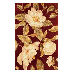 "KAS - Catalina Magnolia 760 Ruby Rug by Kas - 2 ft 6 in x 8 ft Runner - One of Kas's finest collections comes the Catalina Collection. Hand tufted and hand carved of gorgeous wool, each rug offers fantastic floral patterns and color schemes. Their use of vibrant and direct colors is guaranteed to provide the ""pop"" you are looking for. If you are in the market for a wonderful floral style rug, look no further than the Catalina Collection."