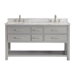 """Avanity - Avanity Brooks 60"""" Double Bathroom Vanity - Chilled Gray - Style. Function. Versatility. The 60"""" Brooks vanity will be the cornerstone of your bathroom, providing ample storage within its soft-close drawers and open-shelf base. Featuring a Chilled Gray finish and clean lines, the Brooks embraces a transitional aesthetic that is timeless and pure. Match your vanity with a complementary top, mirror and medicine cabinet to complete the design of your dreams.Features60""""W x 21.5""""D x 34""""HSolid poplar wood and plywood in Chilled Gray finishBrushed nickel finished hardwareNatural 1"""" stone countertop and backsplash availableCountertop available in Black Granite, Gabala Beige Marble, and White Carrera MarbleWhite vitreous china oval undermount sink available4 soft-closed drawers1 open shelfAdjustable height levelers Faucet not includedHow to handle your counterSpec SheetNatural stone like marble and granite, while otherwise durable, are vulnerable to staining from hair dye, ink, tea, coffee, oily materials such as hand cream or milk, and can be etched by acidic substances such as alcohol and soft drinks. Please protect your countertop and/or sink by avoiding contact with these substances. For more information, please review our """"Marble & Granite Care"""" guide."""