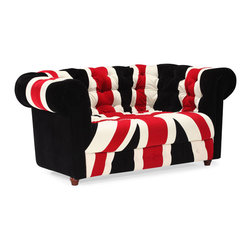 Zuo Modern - Union Jack Loveseat - Stay patriotic with our Union Jack series. Made from a plush microfiber and tufted for a classic look. Comes in an armchair, loveseat, sofa and ottoman.
