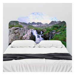 J. Paul Moore - Paul Moore's Waterfall in the American Basin Headboard Wall Decal - Feel the crisp spring air and the icy stream around you with this adhesive headboard wall decal from Paul Moore. Nothing like spring in the mountains to make you want to cover yourself in a blanket of moss and lay your head on a pillow of wildflowers. This headboard may be as close as we can get, but without the bugs.