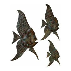UMA - Voyage of the Angel Fish Metal Wall Sculpture Set of 3 - Three abstract metal angelfish that are perfect for accenting or embellishing walls in a space with a modern tropical theme