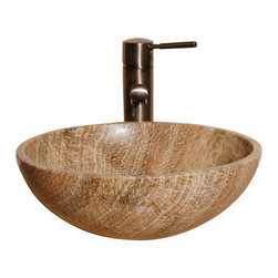 The Allstone Group - V-VR14 Brown Sugar Honed Vessel Sink - Natural stone strikes a balance between beauty and function. Each design is hand-hewn from 100% natural stone.  Vessel sinks can be the most inspiring feature in a bathroom, adding style and beauty to any bath space.  Stone not only is pleasing to the eye but also has the feel of something natural and solid.