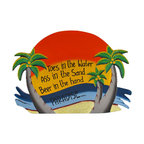 Orange `Toes in the Water` Palm Tree Paradise Wall Plaque - This tropical paradise wall plaque is a wonderful addition to any beach themed room or bar! Made of wood, it is hand painted and measures 15 3/4 inches long, 11 inches tall, 1/4 inch thick. It easily hangs from a single nail or screw by the twisted rope hanger on the back, and is sure to be admired by beach lovers.
