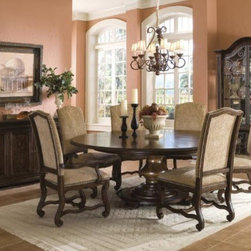 ART Furniture - Coronado 7 Piece Round Dining Room Set - 72225-2612BSTP/72206-26 - Set Includes Round Dining Table, 4 Upholstered Side Chairs and 2 Arm Chairs