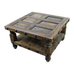 Old World Square Mesquite Coffee Table - This Old World Square Mesquite Coffee Table is constructed of solid wood. No veneers are used, only solid planks of wood with a polyurethane type finish topped with a soft hand-rubbed wax. This finish makes this piece a perfect accent to any Spanish Colonial, Hacienda Style or Tuscan decor.  Notice the hand carved, hand forged iron accents. Beautiful! Each piece is different and order times vary. Call for details. Please note that long wait times could be possible if this item is not in stock at the time of order.