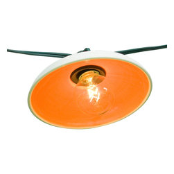 """Pigeon Toe Ceramics - Disc String Lights, Set of 25/Clear - A set of twenty-five porcelain shades, glazed on the inside in the color of your choice. Shown in citrus. Indoor/outdoor cord with 12""""bulb spacing. Set of 25 shades is a 26 ft long white cord. Simple assembly required. Dimensions below are for one shade."""