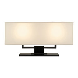 Sonneman Lighting - Sonneman Lighting Hanover Transitional Table Lamp X-15.2133 - This Sonneman Lighting table lamp from the Hanover Collection features two lights housed within a beautiful and crisp elongated natural linen diffuser. The angles of the shade mimic the angles of the frame, which has been finished in a dark contrasting Black Brass hue for added visual interest and masculine charm.