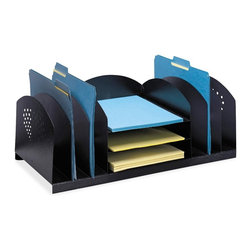 Safco - Safco Desktop Organizer - 8.3 Height x 22.3 Width x 11.3 Depth - 9 Compartment - Desktop organizer combines horizontal and vertical filing compartments to hold paperwork, file folders, books, binders and more all in the same place. Three horizontal compartments accommodate letter-size documents and folders. Six vertical sections bookend the horizontal compartment and hold file folders and smaller binders. Rubber feet protect desktop surface. Organizer is made of 17 gauge steel with a durable powder-coat finish.