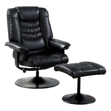 Monarch Specialties - Monarch Specialties I 7251 Black Leather-Look / Metal Swivel Recliner w/ Ottoman - Seat yourself in unsurpassed comfort and style with this black colored recliner chair and matching ottoman. Upholstered in generously padded cushions, padded pillow top armrests, and side pockets useful for magazines, combine for a comfortable and multi-purpose chair. Accent stitching accentuates the luxurious leatherette look for a tailored finish. This piece also features a swivel with an adjustable tension knob, which allows you to control the back pitch for relaxing at just the right angle. Recliner (1), Ottoman (1)
