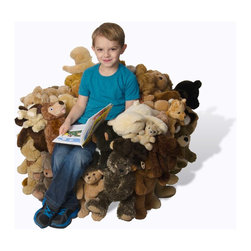 Teddy Bear Chairs - Teddy bears and plush creatures of all kinds, join to form the unconventional upholstery of this unique children's furniture.​