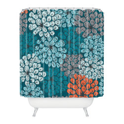 DENY Designs - Khristian A Howell Greenwich Gardens 3 Shower Curtain - Mums the word. Or are they dahlias? Doesn't matter — this floral explosion will brighten up your bathroom and make every shower feel like a special treat.