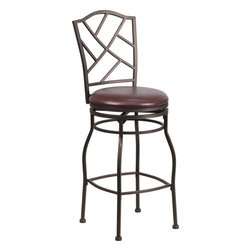 Flash Furniture - Flash Furniture 29 Inch Brown Metal Bar Stool with Brown Leather Swivel Seat - This gracefully styled stool will add an elegant finish to your kitchen, dining room or bar area. The curvaceous frame and attractive powder coated finish will complement any decor. The plush padded seat looks and feels great. A full 360 degree swivel and footrest ring provides comfort and ease. [BS-6320-29-BN-GG]