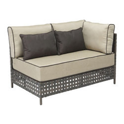 Grandin Road - Summerland Key Right Corner Chaise - Outdoor seating collection comprised of Right Corner Chaise, Left Corner Chaise, Middle Chair and Coffee Table, each sold separately. Pieces can be arranged in various configurations to suit your seating needs. Brown aluminum frames with airy openwork construction. Includes weather-resistant beige cushions with brown piping. Coffee Table comes features a tempered glass top. Design an indulgent outdoor oasis with our Summerland Key Outdoor Sectional Collection. Two chaises and a middle chair can be arranged any way you like. Piped cushions are included, as well as contrasting toss pillows, allowing you to create restful seating that's fit for a king.  .  .  .  .  . Imported .