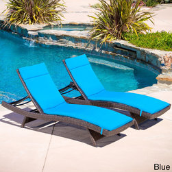 Christopher Knight Home - Christopher Knight Home Outdoor Brown Wicker Adjustable Chaise Lounge with Cushi - Add some stylish comfort to your patio decor with these wicker lounges. Complete with colored cushions to add a touch of fun to your outdoor space,these lounges will have you relaxing in style.