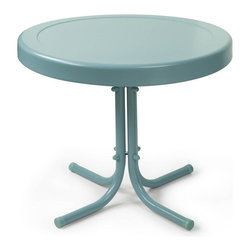 Crosley Furniture - Retro Metal Side Table in Caribbean Blue - Sturdy Steel Construction. Non-Toxic Powder Coated Finish. Easy To Assemble. UV Resistant. Assembly Required. 20 in. L X 20 in. W X 19.5 in. H (9 lbs.)Relax outside for hours on our nostalgically inspired metal outdoor furniture. Set down your glass of iced tea on this sturdy steel side table, designed to withstand the hottest of summer days and other harsh conditions.