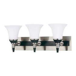 Brushed Nickel With Ebony Wood And Satin White Glass 3 Light Bath Vanity Wall - Condition: New - in box