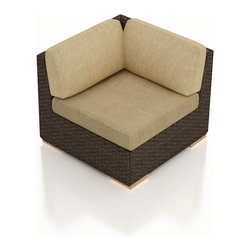 Harmonia Living - Arden Outdoor Rattan Corner Chair, Heather Beige Cushions - The Arden Modern Outdoor Corner Chair with Tan Sunbrella® Cushions (SKU HL-ARD-CS-CH-HB) adds another comfortable seat to your new Arden Collection. Its beautiful wicker is finished with a weathered Chestnut finish and is made from High-Density Polyethylene (HDPE), which ensures that the wicker will neither fade nor peel in regular sun exposure. What makes the Arden Collection unique is its high arms, modern style, and extra-plush cushions, all with a hint of classic traditional looks. Its teak feet elevate the seats in an attractive fashion that accent the wicker. The cushions are made from Sunbrella fabric, which is available in a large assortment of shades to give your Arden set the look that fits right into your outdoor space.