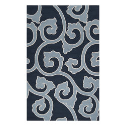 Surya - Mezzo Navy and Teal Area Rug - This rug features floral design accented with shades of blue and ivory. This rug is hand hooked from polyester that is very durable.
