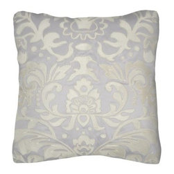 Modern Living Lourdes Embroidery Decorative Pillow - An embroidered damask pattern makes the Modern Living Lourdes Embroidery Decorative Pillow a soft and sophisticated way to complete your bedding ensemble. This throw pillow features a solid gray satin cover with the ivory damask embroidery. It's made of 100% polyester satin with a plush polyester lining and is a charming addition to the Modern Living Lourdes Comforter Set (sold separately).