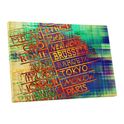 """PingoWorld - Abstract City Names I. Gallery Wrapped Canvas Print, 30""""x20""""x1.25"""" - Abstract City Names I. Gallery wrap on archival quality canvas using Epson Ultra-Chrome inks and pine wood frames."""