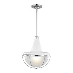Murray Feiss Lighting - Murray Feiss Lighting-P1284-Livingston - One Light Pendant - High Gloss Gray/Polished Nickel Finish with Sandblast/Clear Glass